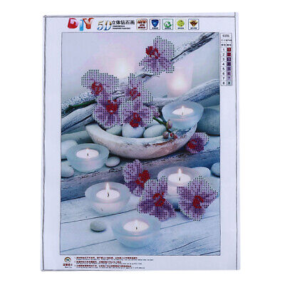 5D DIY Orchid Candles Stones Diamond Painting Full Drill Square Cross Stitch CB
