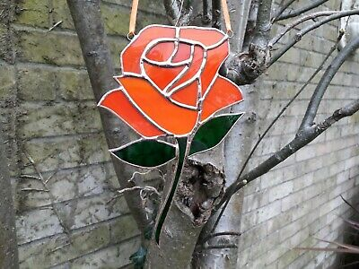 Stained Glass Peach/Orange Rose Mothers Day Gift Tiffany Style
