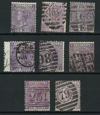 Lot:29452  GB QV   surface printed  6d Mauve plates 8-9 stock selection