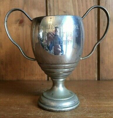 Old Pembrokeshire Agricultural silver plate trophy, loving cup, trophies