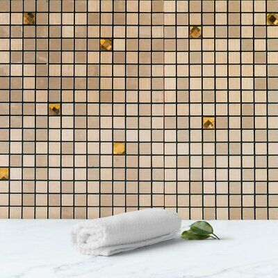 10 Pack Rose Gold Self-adhesive Metal Backsplash Peel & Stick Mosaic Wall Tile P