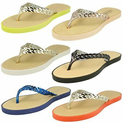 66a5c775cabb WOMENS DIAMANTE JEWEL Toe Post Summer Beach Flat Sandals Ladies Uk ...