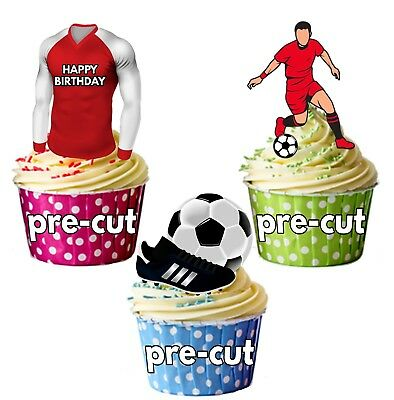 PRECUT Birthday Football Party Pack Cup Cake Toppers Decorations Arsenal Colours