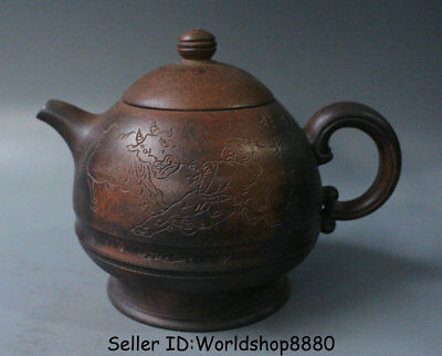 "6.8"" Old China Yixing Zisha Pottery Carved Tongzi Boy Bull Dynasty Handle Teapot"