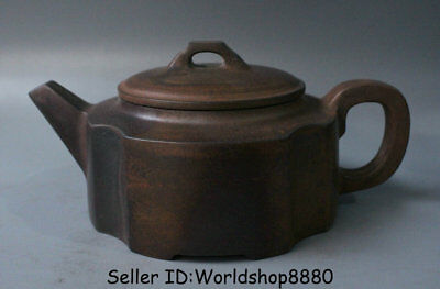 "7.6"" Antique Old China Yixing Zisha Pottery Carved Dynasty Palace Handle Teapot"