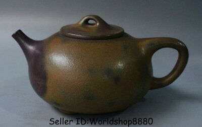 "6.8"" Antique Old China Yixing Zisha Pottery Redware Carved Dynasty Handle Teapot"