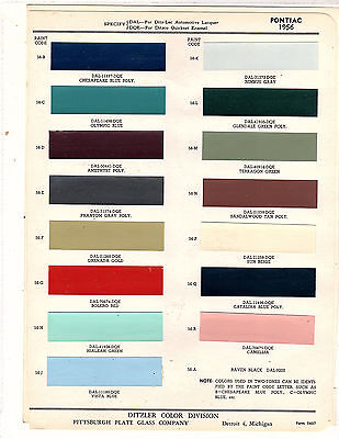 1956 Pontiac Chieftain Bonneville Super Chief Safari Paint Chips Ditzler 3 15Pc