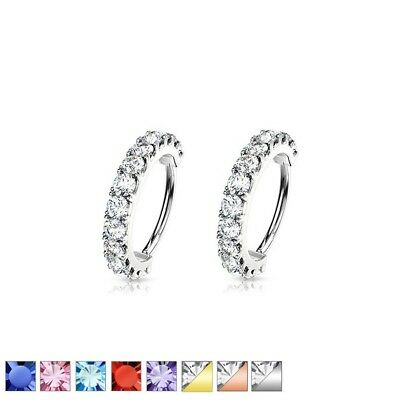 2pc GEM HOOP Nose Lip CARTILAGE Earrings EAR Helix Daith Rook Tragus Conch RINGS