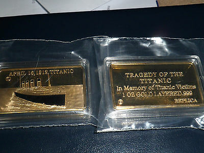 1 Lingot 1 Oz Titanic Plaque Or 999