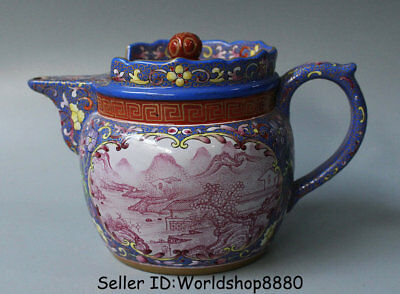 "6.4"" Kangxi Marked Old China Qing Yixing Enamel Zisha Pottery Landscape Teapot"