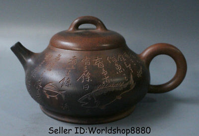 "8"" Old China Yixing Zisha Pottery Carved Fish Animal Words Dynasty Handle Teapot"