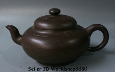 "7.2"" Marked Old China Yixing Zisha Pottery Redware Carved Dynasty Handle Teapot"