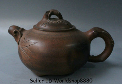 "7.2"" Old China Yixing Zisha Pottery Carved Bamboo Flower Dynasty Handle Teapot"