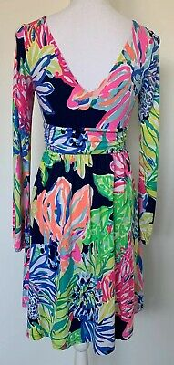 d36d675b1c2ad1 NWOT Lilly Pulitzer Fleur dress Resort Navy Travelers Palm Print Size Small