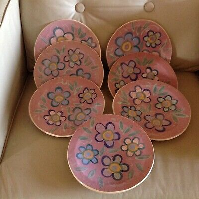 INCREDIBLE SIGNED Ellen Santa Maria HAND CRAFTED Art Pottery Plates LOT OF 7