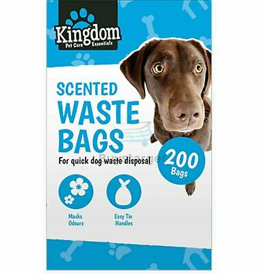 🔥200x Doggy Bags Scented Dogs Dog Puppy Poo Waste Poop Disposal Easy Tie Handle