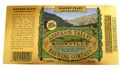 Anderson Valley BARNEY FLATS - OATMEAL STOUT large beer label CA 22oz Var. #1