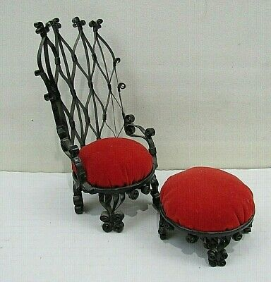 Vintage Metal Chair with Footstool Sewing Pin Cushion (PC#8)
