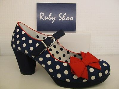 ed657ed8f352c Ruby Shoo Crystal Navy Spots Ladies Heel Mary Jane Buckle Strap Court Shoe
