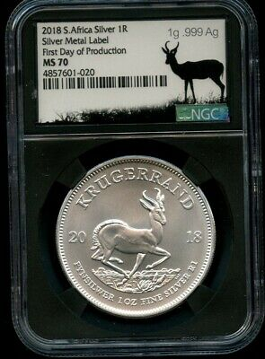 2018 South Africa 1 oz .999 Silver Krugerrand NGC MS 70 Label #1081 METAL Label