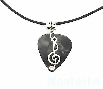 Guitar Pick Necklace Dark Grey With Music Note Treble Clef Pendant Vegan Thong