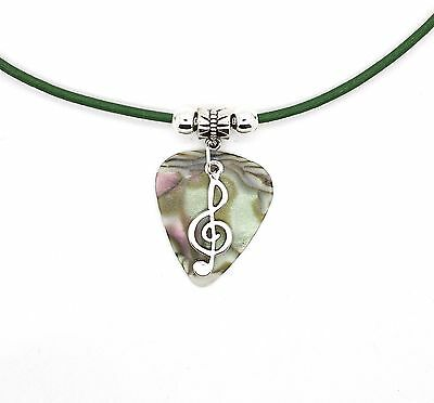 Multicolour Guitar Pick Real Green Leather Necklace With Treble Clef Music Note