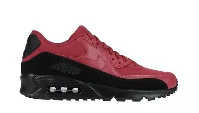 NIKE AIR MAX 90 Essential Black Red Crush Lace Up Trainers Size UK 8