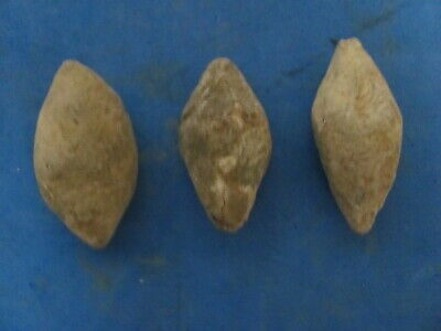 "RARE (3)"" SLING - BULLETs "" Ancient ROMAN / GREEK lead projectile ."