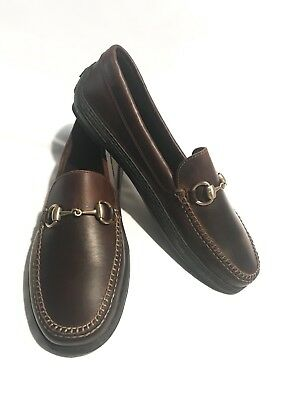 a0e7d713e GUCCI MENS HORSE-BIT Brown Leather Driving Shoes - $196.00 | PicClick