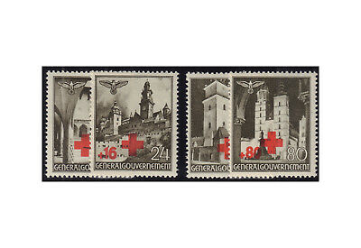 Generalgouvernement 1940: Red cross Michel No. 52/55 Postmarked