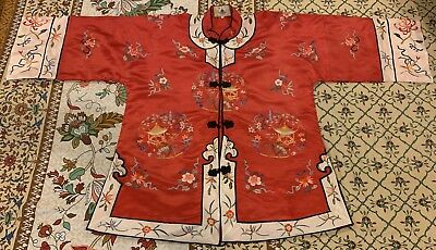 "Antique Chinese Hand Embroidered Robe Good Condition Chest 44"" X length 31"""