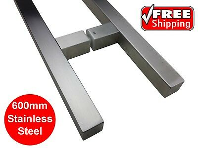 ENTRANCE DOOR HANDLE PULL ENTRY SET STAINLESS STEEL 600mm LONG SATIN SQUARE