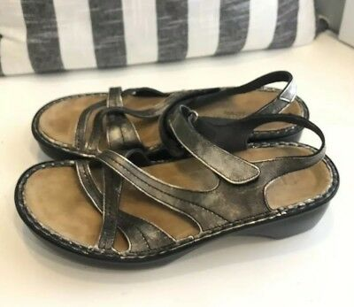 f34285556e71 NAOT Metallic Bronze Leather Sandals Strappy Velcro Clog Wedge 40 Size 9-9.5
