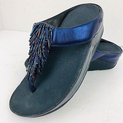 b5d51164ac86 FitFlop Micro Wobble Board Thong Sandals Flip Flop Sz 5 Blue Beaded  Embellished