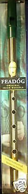 Genuine Original Irish Tin Whistle in Brass by Feadog, Key of D, MPN F10