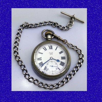 15 Jewel LNER Railway Relief Signal-Man Pocket Watch & Guards Belcher Chain 1923