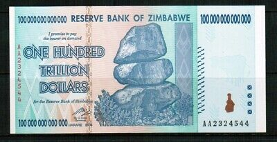 100-trillion Zimbabwe dollars UNC banknote 2008 AA and letter of authenticity