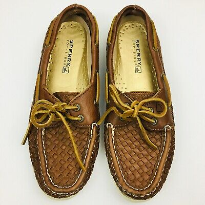 Sperry Top Sider Womens 7 Tan Woven Boat Shoes Non Marking