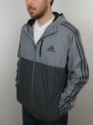 6a99fe4182d30 Adidas Essential Woven Hooded Jacket Mens Size Large L Gray Lightweight  Full Zip