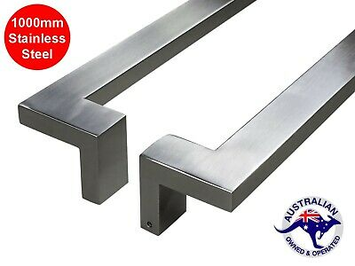 OFFSET ENTRANCE DOOR HANDLE 1000mm PULL SET STAINLESS STEEL LONG SQUARE SHOP