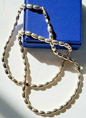 Beautiful Vintage Sterling Silver 925 Bead 22 Inch Long Necklace 59 Grams