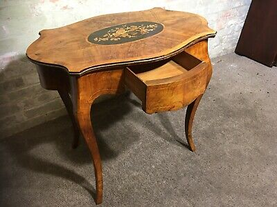 Antique French Walnut Beautifully Inlaid Shaped Oval Table . Delivery Available