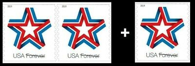 2019 US Stamp-Star Ribbon-Coil Single and Pair-Pre-Order-Ship After March 31