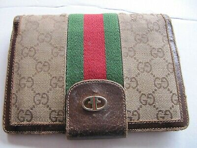 ef224035170 Authentic Vintage Gucci Wallet Brown Signature GG Monogram Racing Stripes  Italy