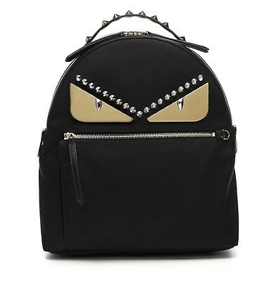 f9d50afdf182 FENDI monster LARGE Backpack eyes bag bugs handbag black Womens studs  leather