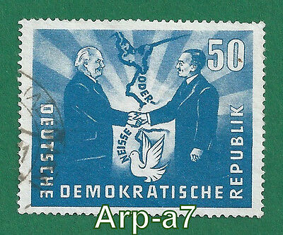 DDR-East Germany stamps Used 1951 Oder-Neisse Line-Treaty Between Poland&Germany