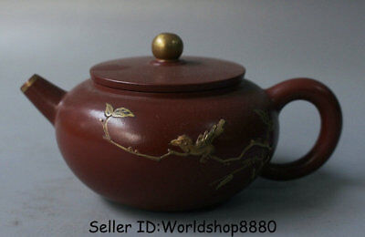"5.2"" Old China Yixing Zisha Pottery Carved Flower Birds Handle Teapot Teakettle"