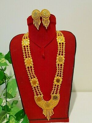 24 carat Gold plated coin rani haar necklace jewellery indian bridal chokker