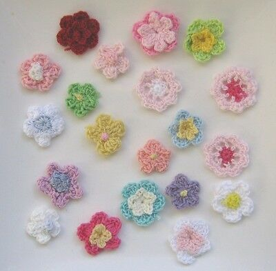 Set Of 20 X Beautiful Crochet Flowers. Free Postage.