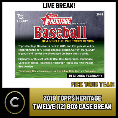 2019 Topps Heritage Baseball - 12 Box (Full Case) Break #a125 - Pick Your Team